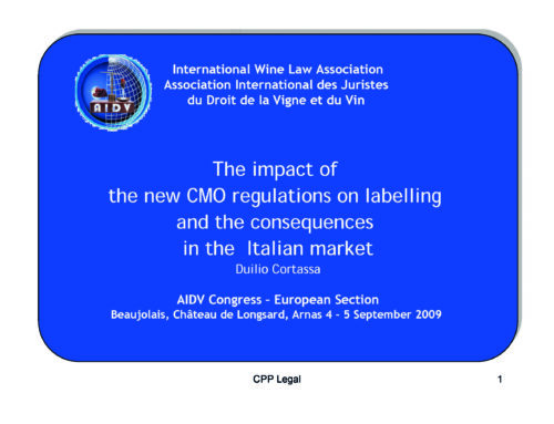 Convegno: The impact of the new CMO regulations